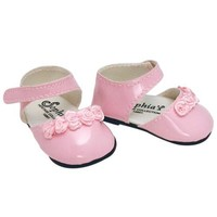 Doll Dress Shoes in Pink fits American Girl Dolls, 18 Inch Doll Shoes in Pink Patent Leather with Ankle Straps and Rose Ribbon Detail