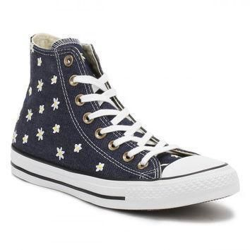 converse all star chuck taylor womens navy fresh yellow hi top trainers