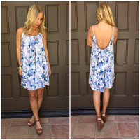 Floral Melody Dress In Oceanic Blue