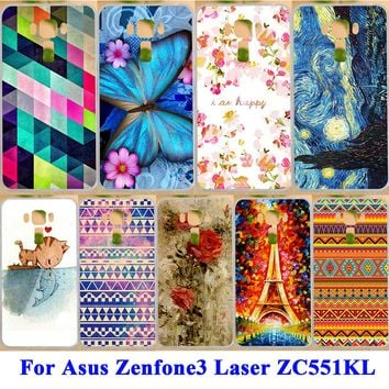 Phone Skin Case Cover For Asus Zenfone 3 Laser ZC551KL Zenfone3 Laser Hard Shell Soft TPU Case Painted Cute Cat Kiss Fish Covers