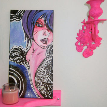 Glitter Girl Painting/ Contemporary Art/ Art Nouveau/ Art/ Wood Painting/ Home Decor/ Wall Decor/ Feminine Art