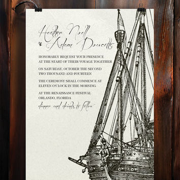 Instant Download-Pirate Ship Illustration Nautical Vintage DIY Printable Birthday Party Baby Girl Shower Bridal Wedding Invitation Template
