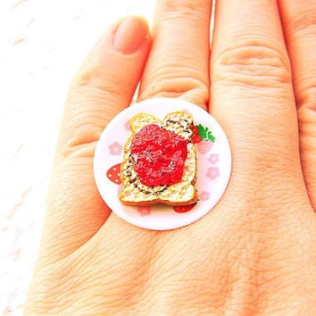 Kawaii Cute Japanese Ring Strawberry Jam Toast by SouZouCreations