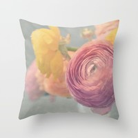 Stop and Smell the Ranunculus Throw Pillow by RDelean