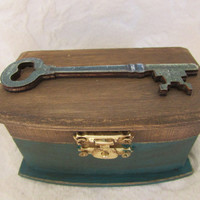 Rustic Stained Aged Teal Woodland Vintage Skeleton Key Wedding Ring Bearers Box