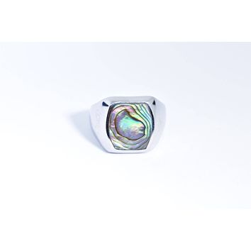 Vintage 1980's Native American Style Green Abalone Stone inlay Men's Ring