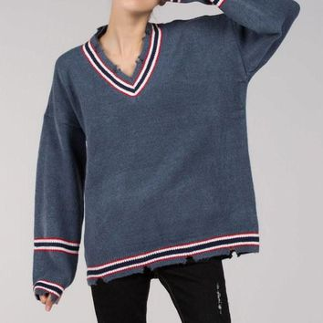 Distressed V-Neck Sweater - Blue by POL Clothing