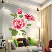 New Arrival Romantic Love 3D Rose Flower Wall Sticker Home Decor Living Room Bedroom flower shop Decals Mother's Day gift