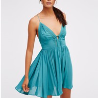 Spaghetti Straps V-neck Backless Pure Color Beach Short Dress