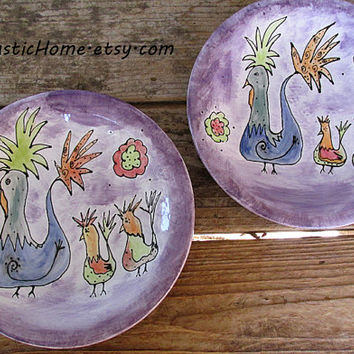 Rustic chicken pottery dinner plate made to order choose your colors