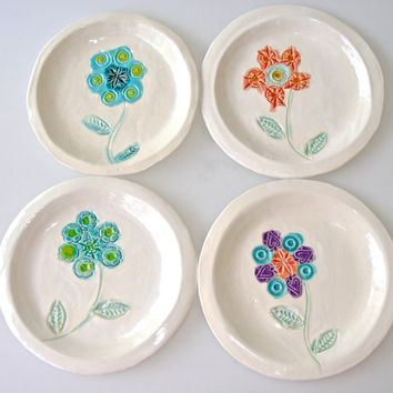 Decorative Dessert Plate Set, ceramic dish set, with spring blooms in turquoise, coral and lime green