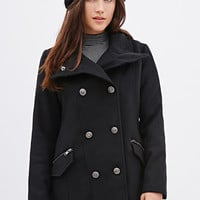 FOREVER 21 Double-Breasted Coat Black
