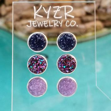 Druzy earring set- Navy/ Lilac and Metallic rainbow drusy stud set