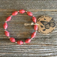 Paper Bead Bracelet, Dark Pink Bracelet, Paper Bead Jewelry, Stretchy Bracelet, Christmas Gift, Gift for Women, Wholesale Jewelry -Item# 052