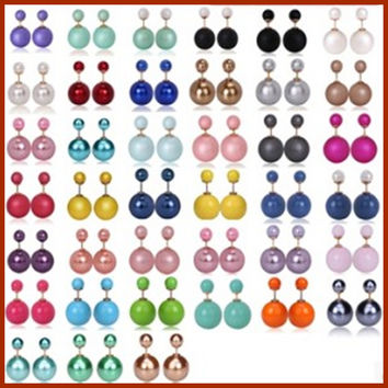 fashion hot selling earrings paragraph 2016 glossy on both sides pearl (15mm) earrings imitation pearl earrings large for women