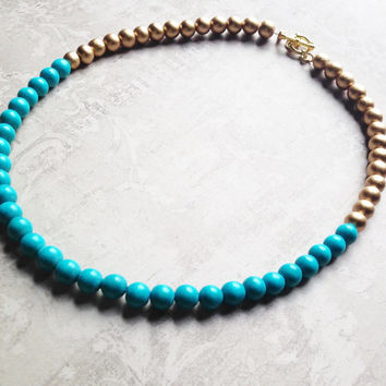 Blue and Gold wooden Beaded Necklace.  Statement piece. Turquoise blue and hold.