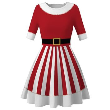 Women's Ladies Mrs Santa Claus Costume Adults Christmas Fancy Dress Outfit