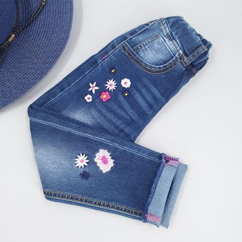 Chumhey Girls Jeans Spring 100% Cotton Stretchy Soft Denim Pants Kids Trousers Embroidery Flowers Toldder Clothes Girls Clothing