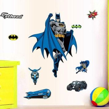 The Hero Batman Large Wall Sticker Decals Removable Art Kids Nursery Decor Room Zy9910 (size: 90 Cm Color: Blue)