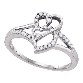 10k White Gold Womens Round Diamond Double Heart Promise Bridal Ring 1/6 Cttw