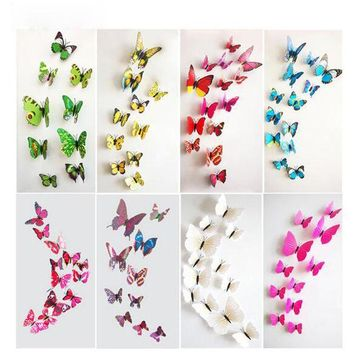 CREYONHS Keythemelife 12pcs PVC Fashion 3D Butterfly Wall Sticker Adesivo De Parede Art Decal Stickers Wall DIY Home Decoration DA