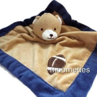 Tiddliwinks Security Blanket Lovey Bear Football Brown Navy Blue Plush 0-3 Years