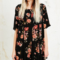 Pins & Needles Godet Floral Swing Dress in Black - Urban Outfitters