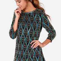 Electric Waves Black and Teal Sequin Dress