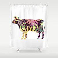 COW - P3 Shower Curtain by Pia Schneider [atelier COLOUR-VISION] #cow #illustration #showercurtain #bathroom #home #bathroomdecor #decor