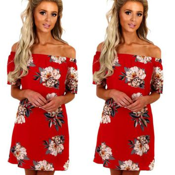 dress strapless red with flowers