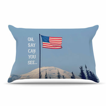 "Robin Dickinson ""Oh Say Can You See"" Blue Flag Typography Pillow Case"