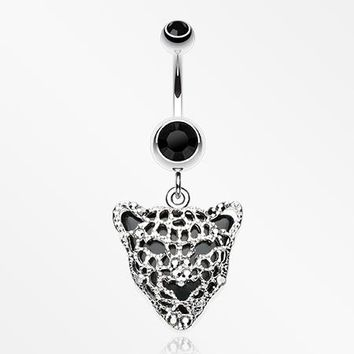 Black Onyx Panther Belly Button Ring