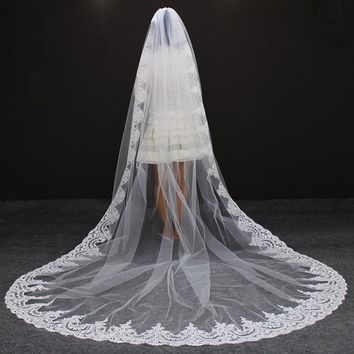 One Layer Cathedral Length Bridal Veil with Comb