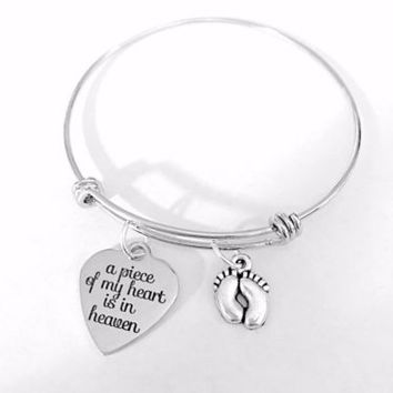 A Piece Of My Heart Is In Heaven Miscarriage Gift Bangle Charm Bracelet