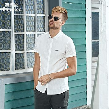summer short sleeve shirt men solid word printing shirts cotton clothing male casual for men shirt clothes