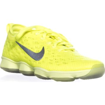 Nike Zoom Fit Agility Lace-Up Athletic Sneakers, Volt/Ivory Hyper Grape, 5.5 US / 36 EU