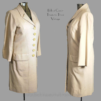 Vintage 1960s Wool Suiting Coat Dress Large Overcoat