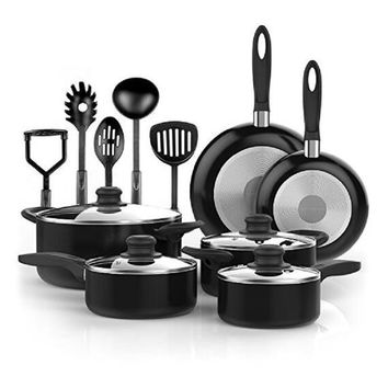 NEW 15 Piece Nonstick Cookware Set - Kitchen Pots and Pans Set Nonstick with Cooking Utensils - Non Stick Cookware Set PTFE and