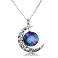 Encounter Blue Fuchsia Universe Hollow Crescent Moon Pendant Necklace Chain 48.5cm