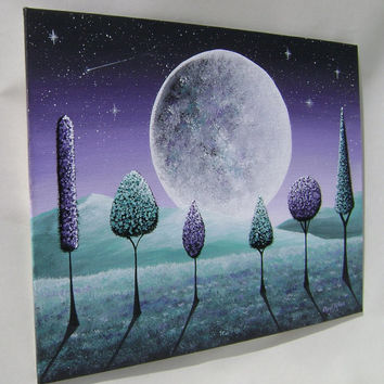 Lavender Moon - Original acrylic contemporary painting - in Teal & Purple - 8 x 10 Canvas Board - Lollipop Trees Shooting Star Mountains
