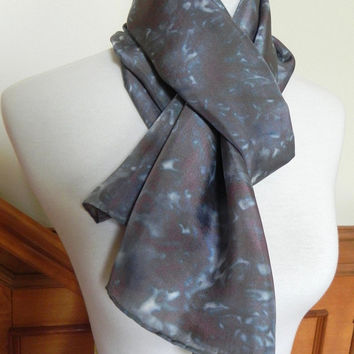 Silk Scarf Hand Dyed in Shades of Grey, Tuscan Red and Peacock Blue, Ready to Ship