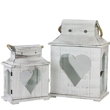 Set of 2 Decorative White Washed Wooden Candle Holder Lanterns with Heart Shaped Cut-Outs