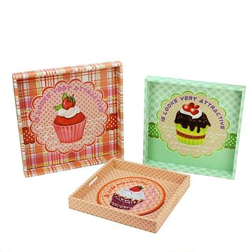 Set of 3 Decorative Multicolored Cupcake Theme Square Wooden Serving Trays