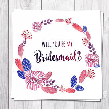 will you be my bridesmaid card printable Wedding, Pink Boho, Bohemian Wedding floral Greeting Card, Bridesmaid Card Printable Wreath