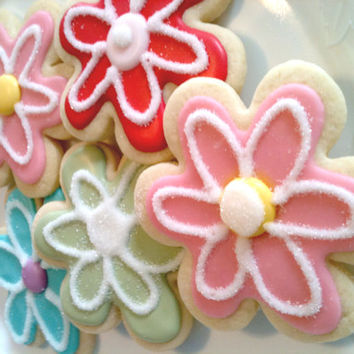 LARGE DECORATED  SUGAR Cookies- Flower Cookies- Birthday Cookies- Mothers Day- Baker's Dozen, 13, Signature Recipe