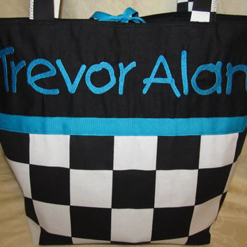 Custom Handmade racing flag checkered flag diaper bag or tote or travel bag you choose name, free shipping