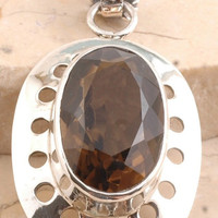 Rustic Smoky Quartz Pendent in 925 Sterling Silver