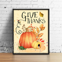 Give thanks, Printable Autumn Decor, Pumpkin Rustic Decor, Fall Decor, Thanksgiving Print, Rustic Farmhouse, Pumpkins Fall Halloween Decor