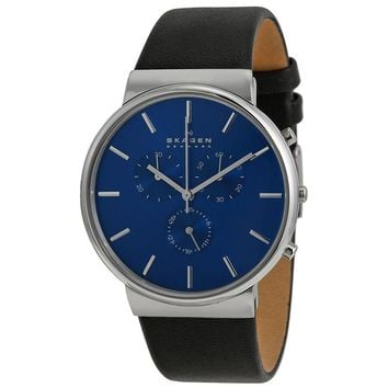 Skagen Ancher Chronograph Blue Dial Black Leather Mens Watch SKW6105