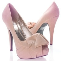 Qupid Women's NYDIA119 Open Peen Toe Bow Platform High Heel Stiletto Pump Shoes, Nude Beige Faux Suede